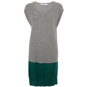 T by Alexander Wang Green Grey Colorblock Dress XS